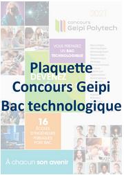 plaquette concours Geipi Polytech bac technologique 2021