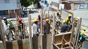 Chantier de reconstruction en Haïti